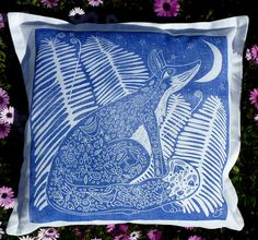 cushion cover/decorative pillow cushion/throw cushion/scatter cushion/accent pillow/sofa cushion/fox/blue/white/moon/stars/linocut/spring