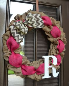 Color Burlap Chevron Bow & Initial Wreath perfect for year round choose from pink, turquoise or yellow