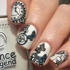 Stamped Steampunk Nails by @ladyandthe_stamp; see the full gallery at…