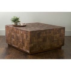 East At Main's Rankin Brown Mosaic Wood Square Coffee Table