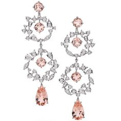 Morganite and diamond earrings by Brumani