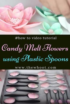 How To Make Candy Melt Flowers With Plastic Spoons {Video} - - Learn how to make Candy Melt Flowers with Plastic Spoons. This is a truly easy and genius way to take your cake decorating to a new level. Cake Decorating Tutorials, Cookie Decorating, Cake Decorating For Beginners, Decorating Cakes, Cupcake Decorating Techniques, Decorating Supplies, Cake Icing, Cupcake Cakes, Candy Cakes