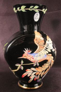 Signed Randy Fenton Glass Ltd Edition Rain Forest Bird of Paradise Vase MWT.