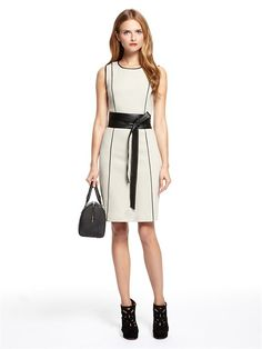 ac71a826bb Sleeveless Dress with Contrast Piping Details (Flax). DKNY.  335.00  Business Wear