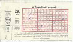 Lottószelvény - 1989 Hungary, Budapest, Childhood Memories, Retro Vintage, Nostalgia, 1, My Love, Projects, Log Projects