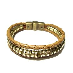 Bracelete fecho imã couro