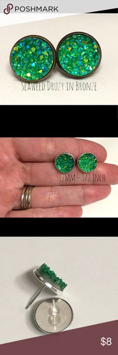 💕4 for $20-Seaweed Druzy Stud Earrings In Bronze (1) pair- 12mm Seaweed Green Druzy Stud Earrings In Bronze Setting   All of our settings are lead / nickel free and have rubber backs.  BUNDLE 4 PAIRS FOR $20! Bundle your favorite 4 pairs, send me and offer for $20, & I'll accept!!   Custom requests are always welcome!   All of our earrings come packaged in a giftbox. Jewelry Earrings
