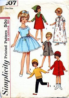"Simplicity pattern for Penny Brite and other 8"" dolls. 1965"