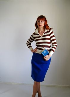 New! A Sweet Hipster Mod Sweater  1970s Sweater Brown CreamMod Hipster Valentine by gogovintage, $28.00