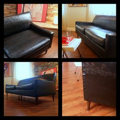 https://flic.kr/p/dqWUkX | VINTAGE MIDCENTURY MODERN Sofa Fabulous Black Faux Leather Retro Flexsteel 1950's Living Room Mid Century Modern Furniture Chicago | THIS SOFA IS A GEM. ONE BIG REASON: BLACK IS ALWAYS THE NEW BLACK! THIS SOFA IS IN GREAT CONDITION FOR IT'S AGE. IT IS MADE BY FLEXSTEEL AND IS BUILT LIKE A TANK WITH A FULL STEEL FRAME. DUE TO IT'S MODERN CLEAN LINES AND STREAMLINE STYLE, IT IS BUILT TO LAST (AND HAS) FOR GENERATIONS, BUT IT ISN'T TOO HEAVY TO HANDLE.      ♠ TRUE…