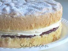 Cornflour Sponge Cake - Maggie Beer's recipe (uses cornflour, vanilla custard powder, cream of tartar, bicarb, 2 eggs, caster sugar)