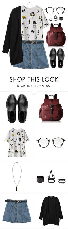 """#Untitled544"" by claricewenzel ❤ liked on Polyvore featuring Miu Miu, Kenneth Cole Reaction, Ray-Ban, Boohoo, Charlotte Russe, Chicnova Fashion and Monki"