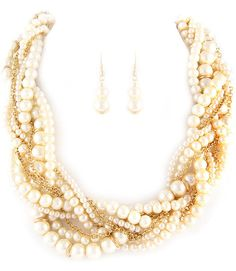 Chunky Twisted Pearl Necklace Braided Creamy Shiny Pearls by 4YJD, $27.00