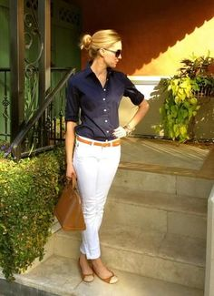 [ Teacher Style ] dark blue button up 3/4 sleeve blouse white skinnyankle pants came skinny belt camel tan flats with white toes
