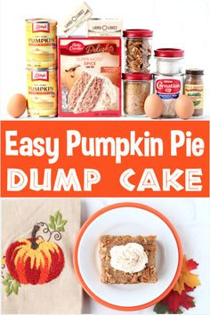 Easy Pumpkin Pie Dump Cake Recipe! Harvest is in the air, Fall is finally here, and that means it's time to let loose and enjoy this amazing Pumpkin Spice Dump Cake! Go grab the recipe and give it a try this week for a new favorite Fall treat! Nut Recipes, Pumpkin Recipes, Fall Recipes, Baking Recipes, Holiday Recipes, Thanksgiving Desserts Easy, Fall Desserts, Delicious Desserts, Spice Dump Cake Recipe