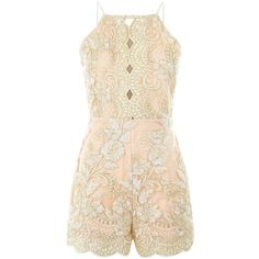 Parisian Paris Pink Floral Embroidered Playsuit ($48) ❤ liked on Polyvore featuring jumpsuits, rompers, pink romper, pink rompers and playsuit romper