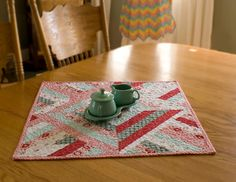 Square Table Runner Red Aqua Turquoise Quilted by VintageToNew
