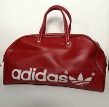 86bae41a248 ADIDAS VTG Red Gym Athletic Duffle Vegan Retro Bag 70s 80s Sport Luggage  RARE!