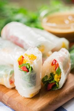 Vegan Mango Spring Rolls with Almond Butter Dipping Sauce | ohmyveggies.com