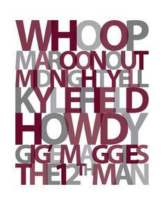 Custom Personalized Texas A Typography Print   11x14 By APinwheelProduction  On Etsy $20.00 My College,