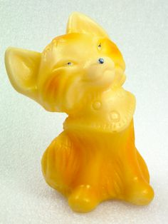 Fox Colorful yellow orange Rubber Toy Soviet by ContesDeFees