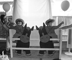 I loved the idea of having a giant wooden cutout that the guests of the kids birthday party could take their pictures with. So my Dad built this one to match the cowboy/cowgirl country theme and it turned out SO cute for photos!