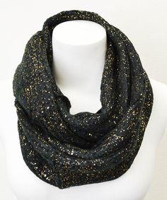 380562b2b41db Black Foil Splash Knit Infinity Scarf Šatky, Nekonečno, Dress Up, Šperky
