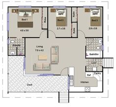 3 Bed Room House Plan: 112 Skippy   On Timber Floor Granny Flats, Cabins,  Transportable Bedroom Home Designs And Plans