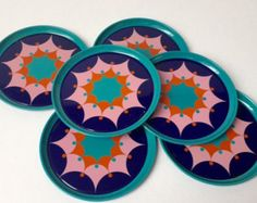 vintage kitchenware steel tin plate seventies coasters 6 pieces Space Age Tomado Holand
