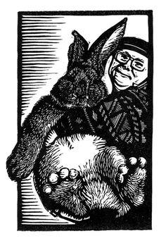 Big Bunny Linocut original hand-pulled relief print