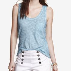 """Express Blue Burnout Tank Top Perfect condition.  Chest pocket, curved hem.  More of a turquoise blue than what the pics show.  Approx measurements laying flat: length 22"""", chest 15"""".  Cotton. Express Tops Tank Tops"""