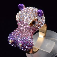 Swarovski Crystals Purple Hippo Hippopotamus Cocktail Ring Size 6# | eBay