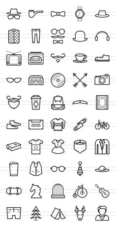 50 Hipster Line Icons by IconBunny on Creative Mar. - - 50 Hipster Line Icons by IconBunny on Creative Mar… – - Mini Drawings, Doodle Drawings, Easy Drawings, Simple Doodles, Cute Doodles, Bullet Journal Art, Bullet Journal Inspiration, Kritzelei Tattoo, Tattoo Tree