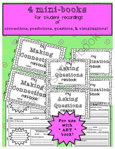 Comprehension Strategies Mini-Books: 4 Mini-Books for Recording Student Thinking from Sweet and Neat Printables on TeachersNotebook.com -  (10 pages)  - My NEW Freebie!  These 4 half-page books are the ideal place for students to record their responses to their reading! They can be used with ANY silent reading book!