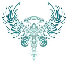 tribal angel tatoos | tattoo on her lower back of an angel. This tattoo glows a soft ...