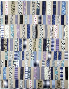 I like the linen like color with the others... Lovely! Worn and Washed Strip Quilt | Red Pepper Quilts 2015