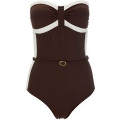 Brown And Ivory Swimsuit ($35) ❤ liked on Polyvore featuring swimwear, one-piece swimsuits, swimsuits, bathing suits, bikini, bodysuits, brown, bandeau one piece swimsuit, halter bathing suit and halter top