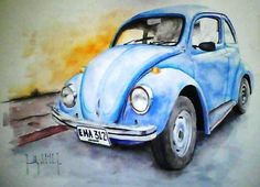 VW bug car art watercolor painting