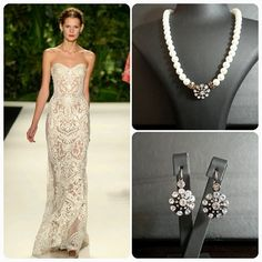 Naeem Khan Wedding Gown  BrideIstanbul Necklace and Earrings