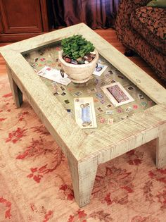 Display Coffee Table with Glass Top, Reclaimed Wood, Rustic Contemporary, Distressed Bayberry Green Finish - Handmade.