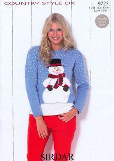 """Sirdar DK Jumper Knitting Pattern Christmas Xmas Santa Sweater Men 32/""""-54/"""" 9722"""