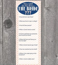 Printable Bridal Shower Games: Do You Know the Bride?