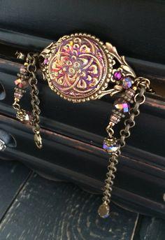 Boho Bracelet Czech Glass Button Bracelet by KarenTylerDesigns