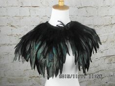 PLN73.79 double layer Black rooster coque feather Collar Shrug Cape