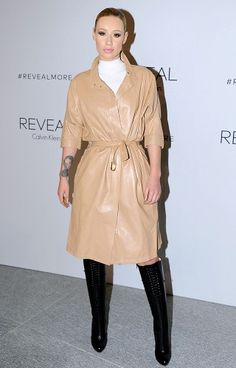 Iggy Azalea attends REVEAL Calvin Klein Fragrance Launch in camel belted leather coat and black knee boots runway fashion Celebrity Outfits, Celebrity Look, Calvin Klein Fragrance, Other Outfits, New York Fashion, Women's Fashion, Runway Fashion, Fashion Trends, Look Chic
