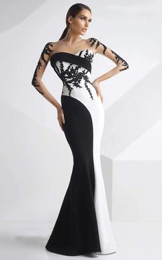 MNM Couture - Embroidered Panel Gown in Black and White Evening Dresses, Prom Dresses, Formal Dresses, Wedding Dresses, Sexy Dresses, Summer Dresses, Kleidung Design, Beautiful Gowns, Elegant Dresses
