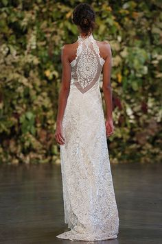 Amazing back details on this lace wedding dress. Claire Pettibone, Fall 2015