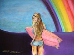 "Surf Art ""Rainbow Surf Check""  Pencil, Acrylics and Oil Pastel on 18 inch x 24 inch linen canvas"