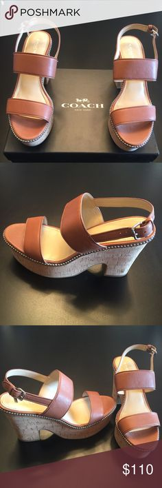 Coach: Sandle, NEW Coach Soft Milled Leather with silver-tone chain wraps. It has a Cushioned Cork platform and heel. Heel height 4 in, Platform height 2 in Coach Shoes Sandals