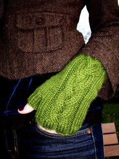 Cable Knit Fingerless Gloves. Beautiful colour combo with jacket and gloves I am a fan of the fingerless glove...I could see myself wearing this whole outfit